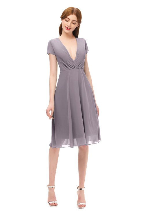 ColsBM Bailey Sea Fog Bridesmaid Dresses V-neck Ruching A-line Zipper Knee Length Modern