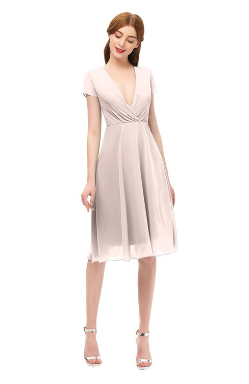 ColsBM Bailey Silver Peony Bridesmaid Dresses V-neck Ruching A-line Zipper Knee Length Modern