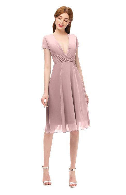 ColsBM Bailey Silver Pink Bridesmaid Dresses V-neck Ruching A-line Zipper Knee Length Modern