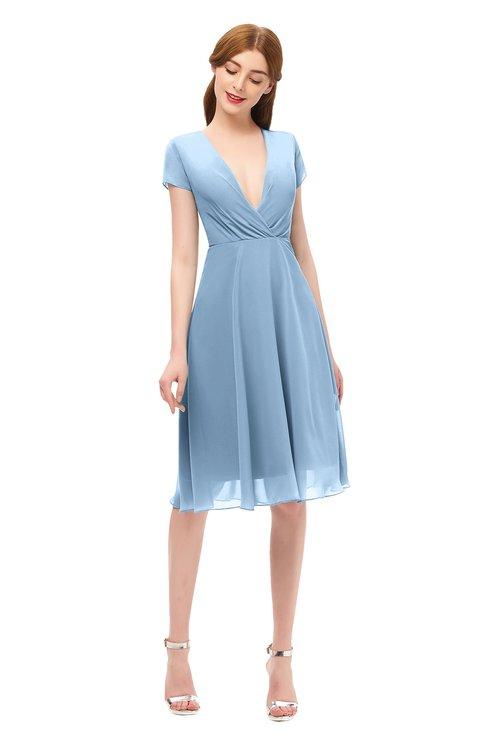 ColsBM Bailey Sky Blue Bridesmaid Dresses V-neck Ruching A-line Zipper Knee Length Modern