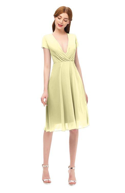 ColsBM Bailey Soft Yellow Bridesmaid Dresses V-neck Ruching A-line Zipper Knee Length Modern