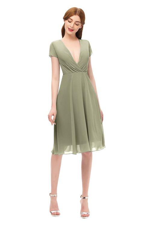 ColsBM Bailey Sponge Bridesmaid Dresses V-neck Ruching A-line Zipper Knee Length Modern