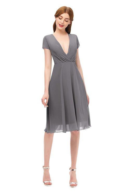 ColsBM Bailey Storm Front Bridesmaid Dresses V-neck Ruching A-line Zipper Knee Length Modern
