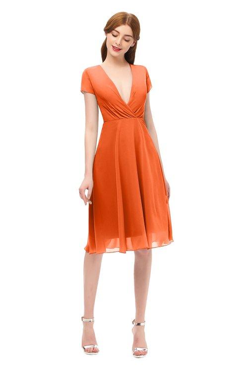 ColsBM Bailey Tangerine Bridesmaid Dresses V-neck Ruching A-line Zipper Knee Length Modern