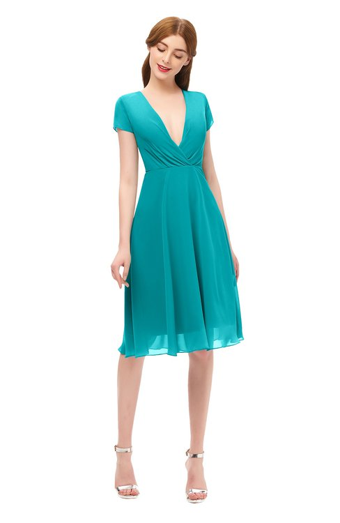 ColsBM Bailey Teal Bridesmaid Dresses V-neck Ruching A-line Zipper Knee Length Modern