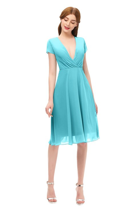 ColsBM Bailey Turquoise Bridesmaid Dresses V-neck Ruching A-line Zipper Knee Length Modern