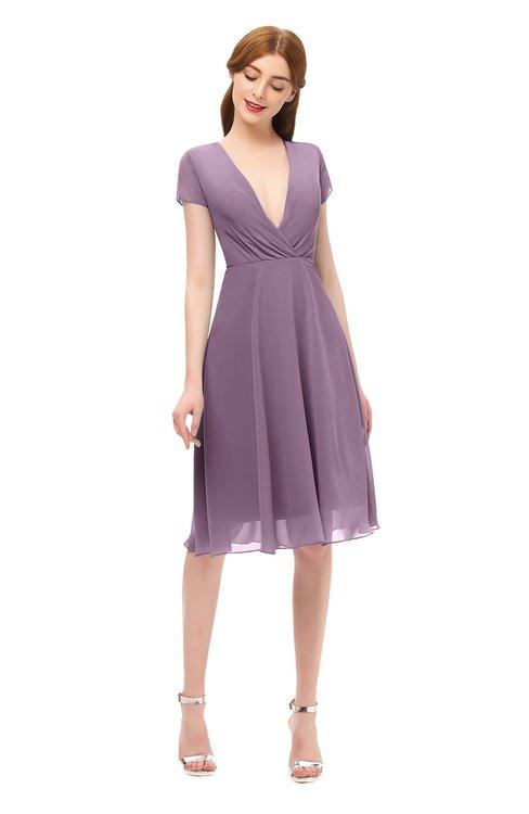 ColsBM Bailey Valerian Bridesmaid Dresses V-neck Ruching A-line Zipper Knee Length Modern