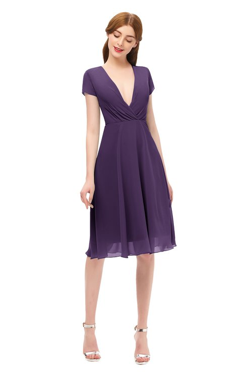 ColsBM Bailey Violet Bridesmaid Dresses V-neck Ruching A-line Zipper Knee Length Modern