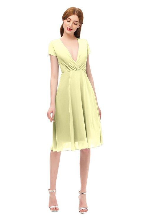 ColsBM Bailey Wax Yellow Bridesmaid Dresses V-neck Ruching A-line Zipper Knee Length Modern