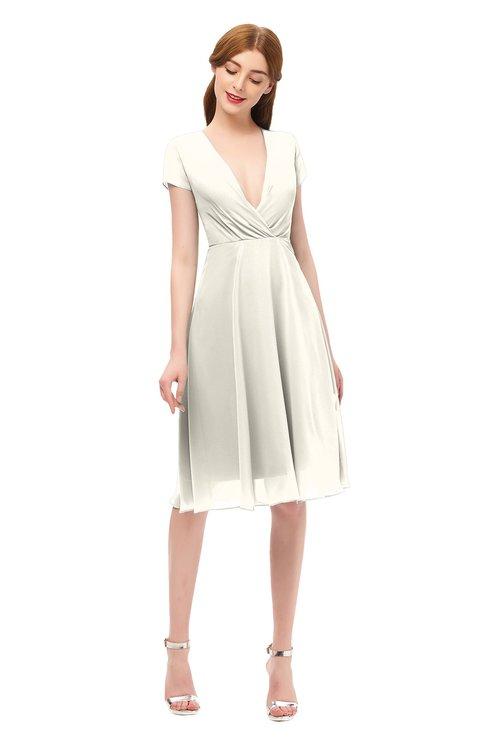 ColsBM Bailey Whisper White Bridesmaid Dresses V-neck Ruching A-line Zipper Knee Length Modern