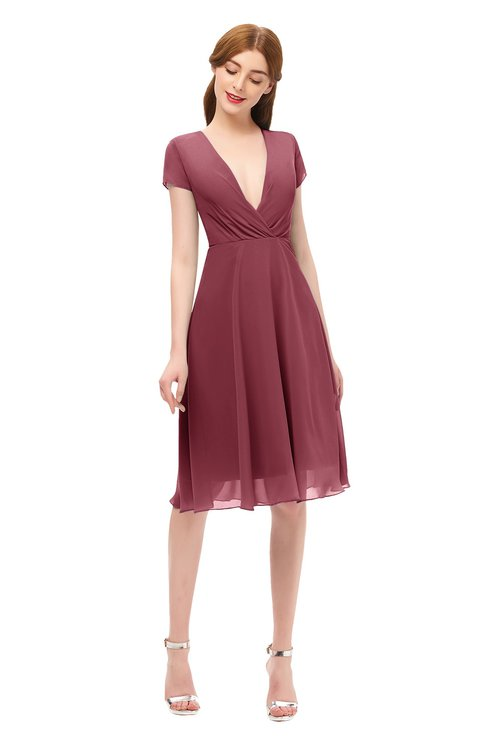 ColsBM Bailey Wine Bridesmaid Dresses V-neck Ruching A-line Zipper Knee Length Modern