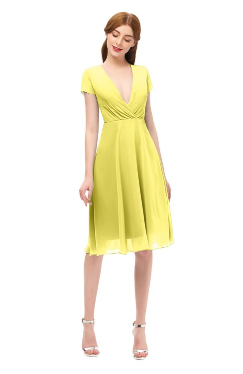 ColsBM Bailey Yellow Iris Bridesmaid Dresses V-neck Ruching A-line Zipper Knee Length Modern