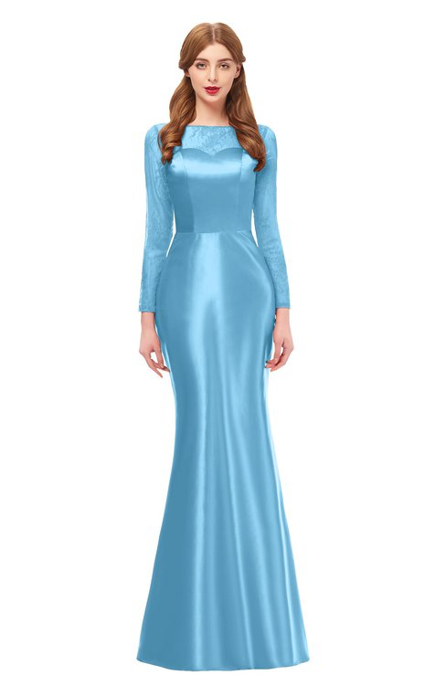 ColsBM Kenzie Alaskan Blue Bridesmaid Dresses Trumpet Lace Bateau Long Sleeve Floor Length Mature