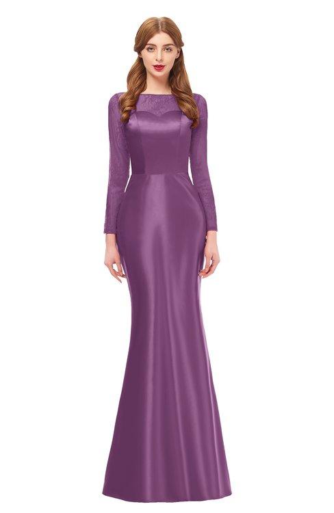 ColsBM Kenzie Argyle Purple Bridesmaid Dresses Trumpet Lace Bateau Long Sleeve Floor Length Mature
