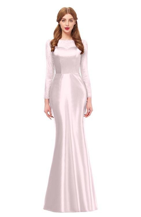 ColsBM Kenzie Blush Bridesmaid Dresses Trumpet Lace Bateau Long Sleeve Floor Length Mature