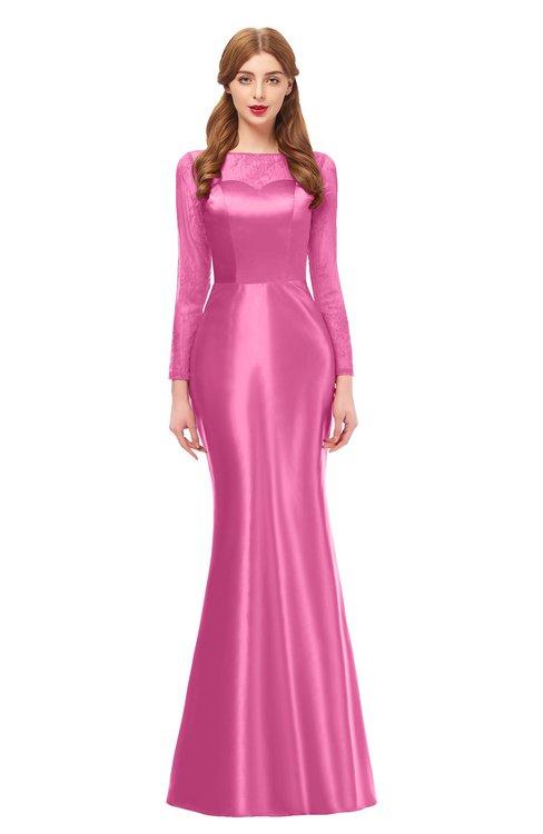 ColsBM Kenzie Carnation Pink Bridesmaid Dresses Trumpet Lace Bateau Long Sleeve Floor Length Mature