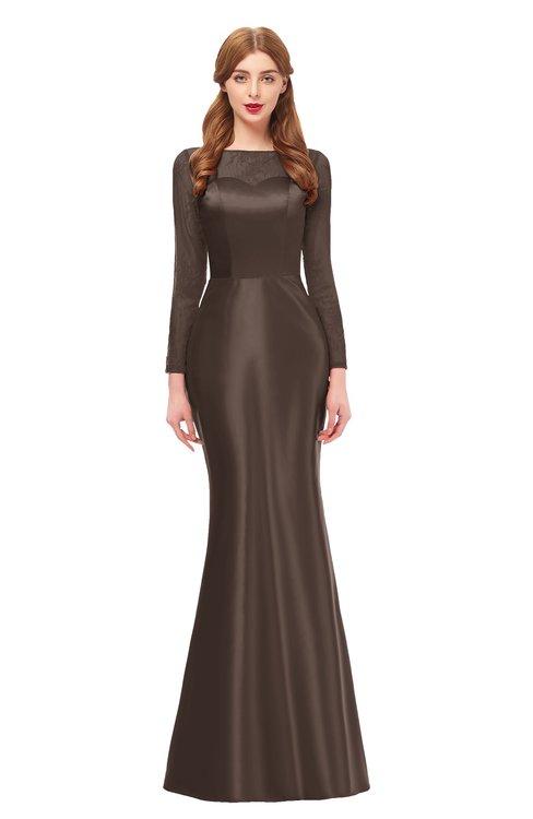 ColsBM Kenzie Chestnut Brown Bridesmaid Dresses Trumpet Lace Bateau Long Sleeve Floor Length Mature