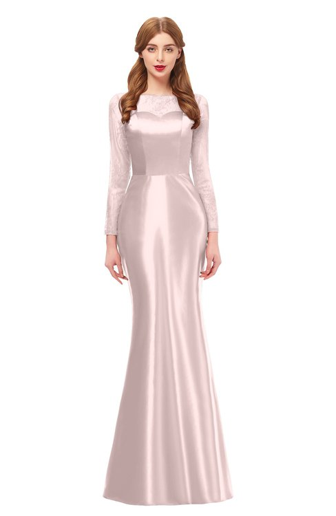 ColsBM Kenzie Coral Pink Bridesmaid Dresses Trumpet Lace Bateau Long Sleeve Floor Length Mature