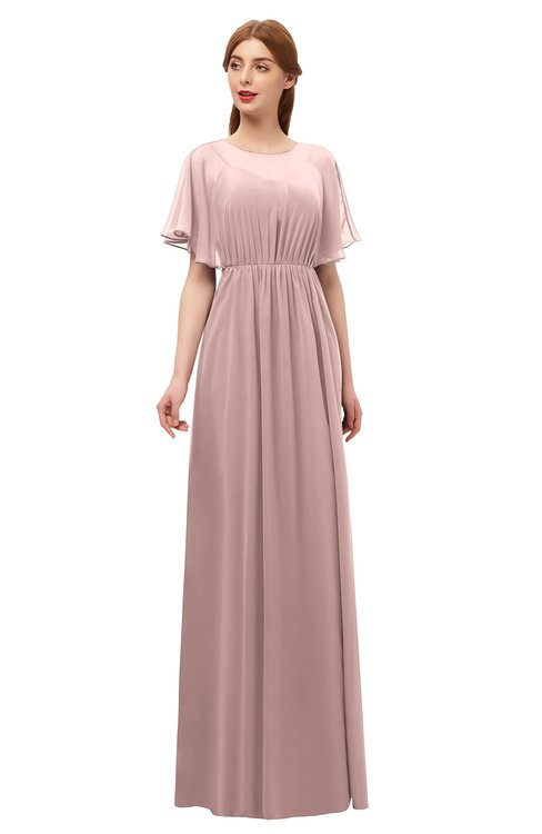 ColsBM Darcy Blush Pink Bridesmaid Dresses Pleated Modern Jewel Short Sleeve Lace up Floor Length