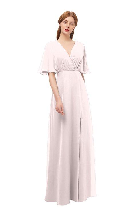 ColsBM Dusty Angel Wing Bridesmaid Dresses Pleated Glamorous Zip up Short Sleeve Floor Length A-line