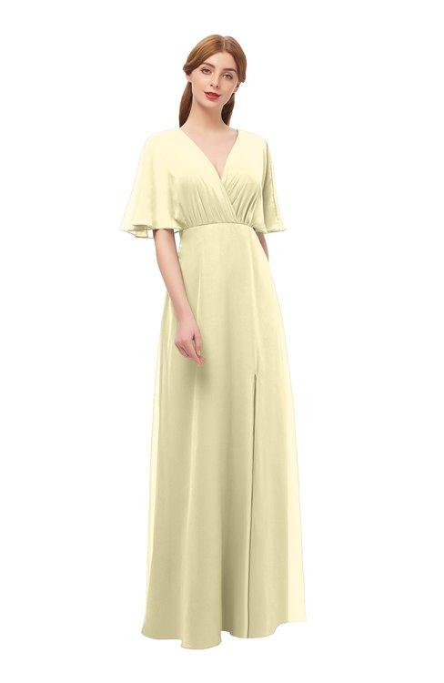 ColsBM Dusty Anise Flower Bridesmaid Dresses Pleated Glamorous Zip up Short Sleeve Floor Length A-line