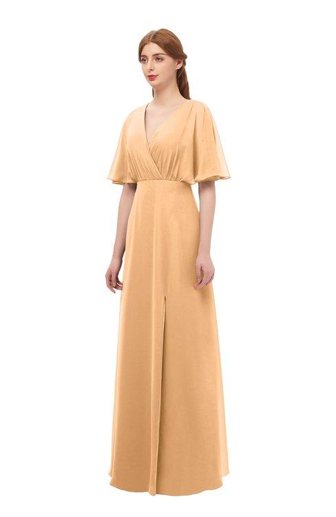 3697cf56d515 ... ColsBM Dusty Apricot Bridesmaid Dresses Pleated Glamorous Zip up Short  Sleeve Floor Length A-line ...