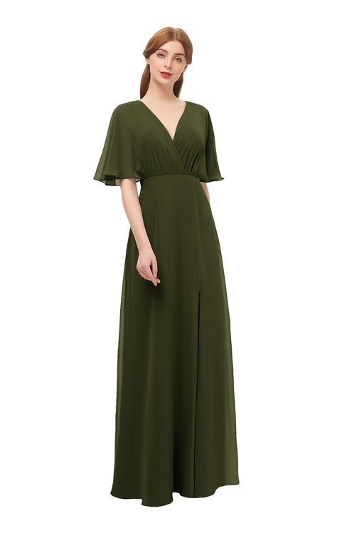 ColsBM Dusty Beech Bridesmaid Dresses Pleated Glamorous Zip up Short Sleeve Floor Length A-line