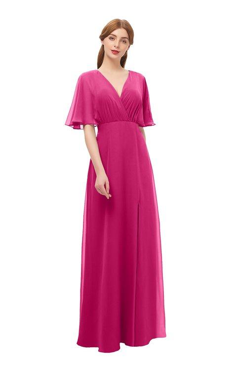 ColsBM Dusty Beetroot Purple Bridesmaid Dresses Pleated Glamorous Zip up Short Sleeve Floor Length A-line