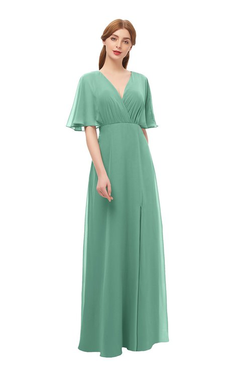 ColsBM Dusty Beryl Green Bridesmaid Dresses Pleated Glamorous Zip up Short Sleeve Floor Length A-line