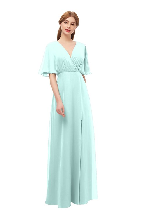 ColsBM Dusty Blue Glass Bridesmaid Dresses Pleated Glamorous Zip up Short Sleeve Floor Length A-line