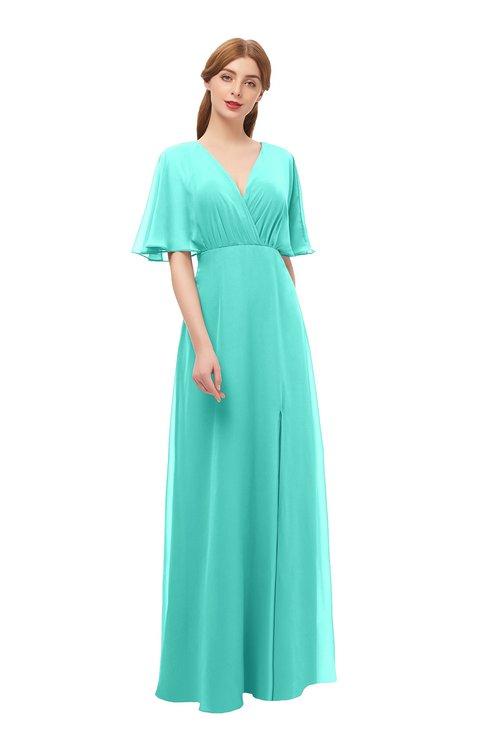 ColsBM Dusty Blue Turquoise Bridesmaid Dresses Pleated Glamorous Zip up Short Sleeve Floor Length A-line