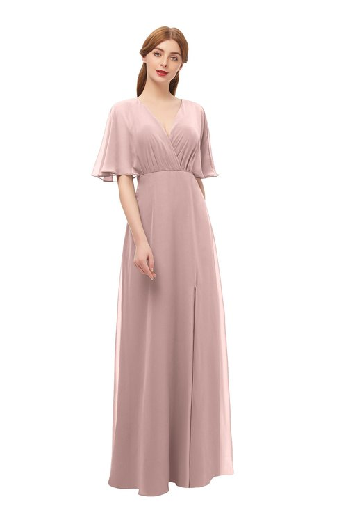 ColsBM Dusty Blush Pink Bridesmaid Dresses Pleated Glamorous Zip up Short Sleeve Floor Length A-line