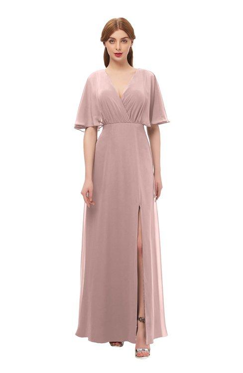 f5acefa3922a ... ColsBM Dusty Blush Pink Bridesmaid Dresses Pleated Glamorous Zip up  Short Sleeve Floor Length A- ...