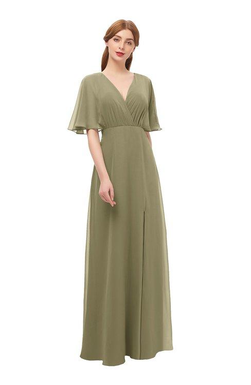 ColsBM Dusty Boa Bridesmaid Dresses Pleated Glamorous Zip up Short Sleeve Floor Length A-line