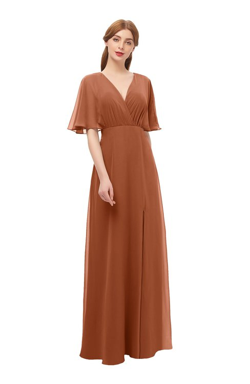ColsBM Dusty Bombay Brown Bridesmaid Dresses Pleated Glamorous Zip up Short Sleeve Floor Length A-line