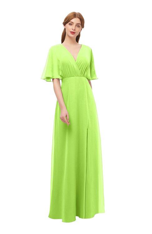 ColsBM Dusty Bright Green Bridesmaid Dresses Pleated Glamorous Zip up Short Sleeve Floor Length A-line