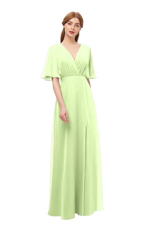 ColsBM Dusty Butterfly Bridesmaid Dresses Pleated Glamorous Zip up Short Sleeve Floor Length A-line