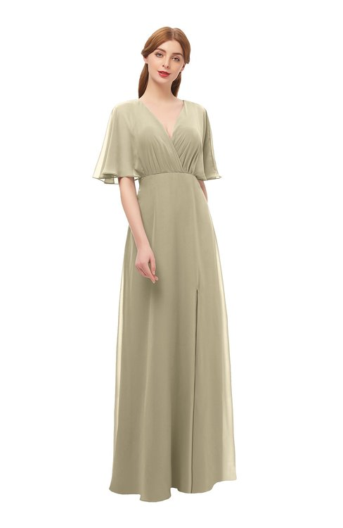 ColsBM Dusty Candied Ginger Bridesmaid Dresses Pleated Glamorous Zip up Short Sleeve Floor Length A-line