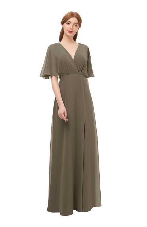 ColsBM Dusty Carafe Brown Bridesmaid Dresses Pleated Glamorous Zip up Short Sleeve Floor Length A-line