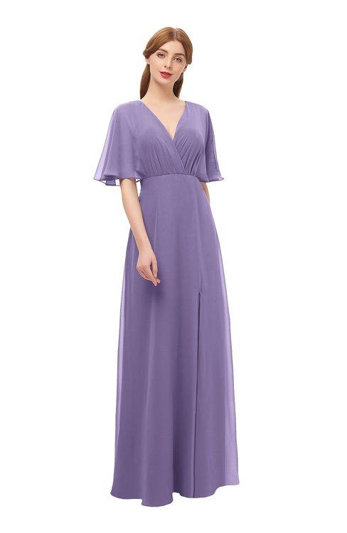 ColsBM Dusty Chalk Violet Bridesmaid Dresses Pleated Glamorous Zip up Short Sleeve Floor Length A-line