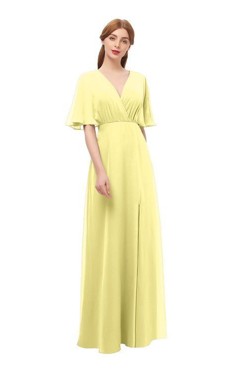 ColsBM Dusty Daffodil Bridesmaid Dresses Pleated Glamorous Zip up Short Sleeve Floor Length A-line