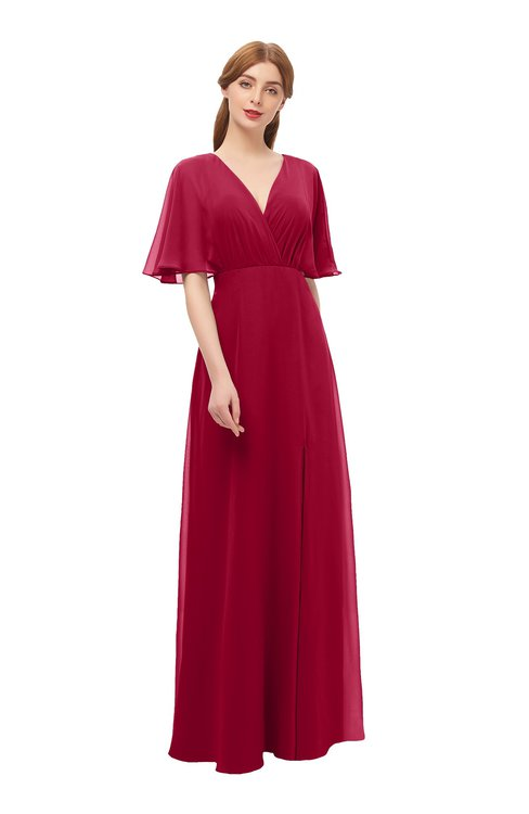 6ff03f1bbda2 ColsBM Dusty Dark Red Bridesmaid Dresses Pleated Glamorous Zip up Short  Sleeve Floor Length A-