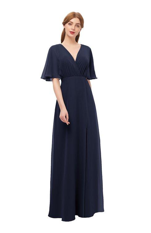 ColsBM Dusty Dark Sapphire Bridesmaid Dresses Pleated Glamorous Zip up Short Sleeve Floor Length A-line