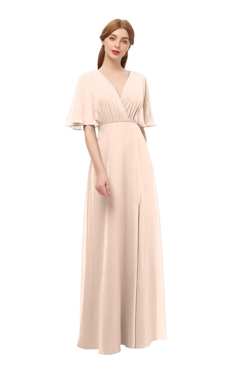 ColsBM Dusty Fresh Salmon Bridesmaid Dresses Pleated Glamorous Zip up Short Sleeve Floor Length A-line