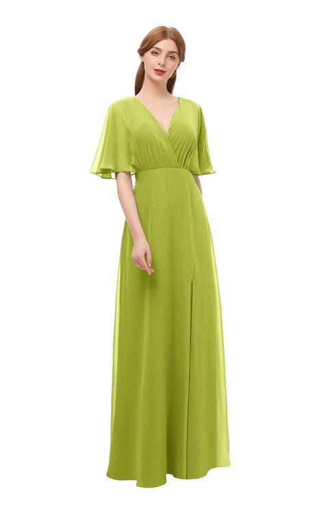ColsBM Dusty Green Oasis Bridesmaid Dresses Pleated Glamorous Zip up Short Sleeve Floor Length A-line