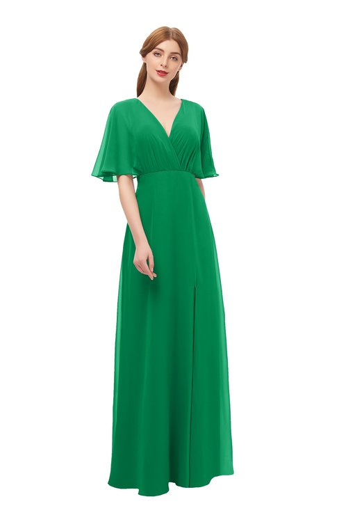 ColsBM Dusty Green Bridesmaid Dresses Pleated Glamorous Zip up Short Sleeve Floor Length A-line