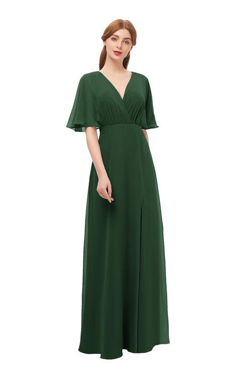 ColsBM Dusty Hunter Green Bridesmaid Dresses Pleated Glamorous Zip up Short Sleeve Floor Length A-line