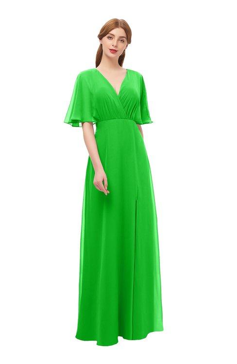 ColsBM Dusty Jasmine Green Bridesmaid Dresses Pleated Glamorous Zip up Short Sleeve Floor Length A-line