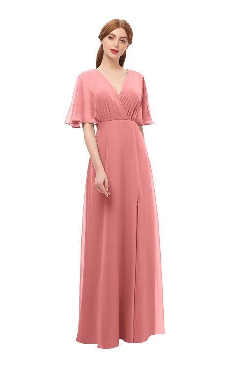 ColsBM Dusty Lantana Bridesmaid Dresses Pleated Glamorous Zip up Short Sleeve Floor Length A-line