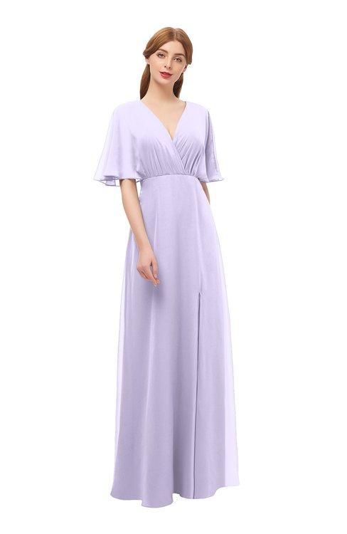 ColsBM Dusty Light Purple Bridesmaid Dresses Pleated Glamorous Zip up Short Sleeve Floor Length A-line